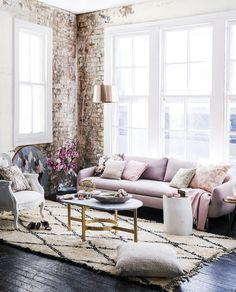 Pretty living room with a #boho mixed with #glam kind of vibe