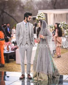 Image may contain: 2 people, people standing Engagement Dress For Groom, Couple Wedding Dress, Wedding Dresses Men Indian, Groom Wedding Dress, Asian Wedding Dress, Pakistani Wedding Outfits, Wedding Dresses For Girls, Pakistani Wedding Dresses, Groom Dress