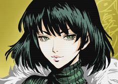 'Fubuki Face Green Hair Gre' Metal Poster Print - Gaines Short | Displate