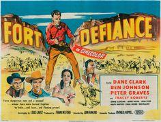 FORT DEFIANCE (1951) - Dane Clark - Ben Johnson - Peter Graves - Ben Johnson - Tracey Roberts - United Artists - UK Movie Poster.