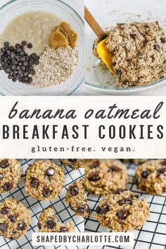 Oatmeal Breakfast Cookies, Breakfast Cookie Recipe, Healthy Oatmeal Cookies, Vegan Breakfast, Breakfast Recipes, Dessert Recipes, Cookies Gluten Free, Sugar Free Cookies, Clean Eating Desserts