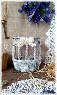 Купить Корзинка плетеная ажурная - серый, бирюзовый цвет, плетеная корзина, Плетеная корзинка
