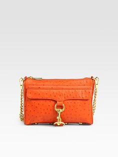 rebecca minkoff mini-mac in orange ostrich...obsessed. christmas list. now.