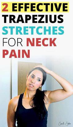 Trapezius pain can be very painful and frustrating. Upper trapezius pain can come out of nowhere when sleeping. Once trigged it can radiate down to the mid and lower back and cause intense neck pain. In this post, I'll show you how to get relief from trapezius pain with neck stretches, and neck self-massage techniques so you can feel better soon. Neck And Shoulder Exercises, Back Pain Exercises, Neck Stretches, Shoulder Workout, Stretching Exercises, Shoulder Pain Relief, Neck And Shoulder Pain, Muscle Pain Relief, Neck Pain Relief