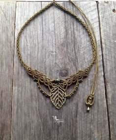 Macrame boho leaf necklace elven jewelry with par creationsmariposa, $58.00