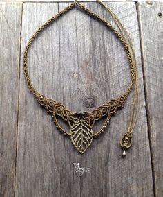 Macrame boho leaf necklace elven jewelry with par creationsmariposa, $58.00