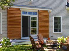 """Wood Shutters, Rustic exterior cedar shutters- """"Board and batten"""" Cedar Shutters, Rustic Shutters, Interior Window Shutters, Interior Windows, Interior Barn Doors, Navy Shutters, Modern Shutters, House Shutters, Roller Shutters"""
