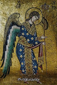 St Michael. 12th-century mosaic from the Byzantine part of La Martorana, also known as Santa Maria dell'Ammiraglio in Palermo, Sicily