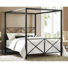 Made out of metal, it's a sturdy structure that will stand the test of time. Drape it with your favorite curtains or fabric depending on the season or mood to create a serene sleeping space. Includes: