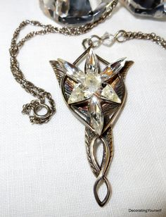 Sterling Silver Arwen Evenstar Lord of The Rings Necklace 18 Inch Chain