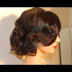 Old Hollywood hair, vintage glam updo, cred to Houda Bazzi!