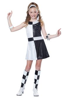 California Costumes Mod Chic Tween Costume, Large: Bring up the rhythm as the center of the stage. The Mod Chic child costume is a black and white sequined dress that comes with a matching head tie and boot tops. Bracelets and shoes not included. 60s Costume, Dress Up Costumes, Girl Costumes, Costume Ideas, Costumes Kids, Group Costumes, Cosplay Ideas, Dance Costumes, Peacock Halloween Costume