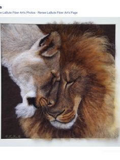 Fabulous wool painted portrait of a lion and lioness by Renee LaBute at Renee LaBute Fiber Art