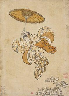 Suzuki Harunobu (1725-1770). Image de calendrier « Beauté sautant dans le vide depuis le balcon du temple KiyomIzu » , 1765. BNF, départ. des estampes.