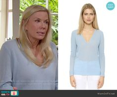 Brooke's blue v-neck sweater on The Bold and the Beautiful.  Outfit Details: https://wornontv.net/55921/ #TheBoldandtheBeautiful