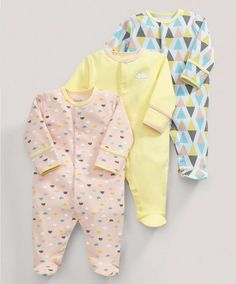 All-in-Ones (3 Pack) Soft Geo Print - 3 For 2 Baby Basics - Mamas & Papas