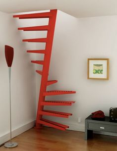 This spiral staircase from Eestairs is a very clever space saving solution. It fits in just one square meter. The secret is that you step at the bottom under the pole, and at the top you step above the same pole. It is made of mild steel, powder coated in any RAL color.