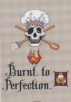 Burnt To Perfection Post Stitch pirate cross stitch with charm Sue Hillis Design $5.40 #pirate