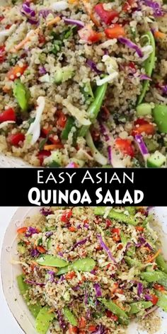Mar 2020 - Easy Asian quinoa salad recipe (+ Video) with cucumber, cabbage and peppers tossed in a sesame coco aminos dressing. whole foods, plant based vegan! Healthy Food List, Healthy Eating Recipes, Whole Food Recipes, Vegetarian Recipes, Best Quinoa Salad Recipes, Best Vegan Salads, Kale Recipes, Plant Based Recipes, Vegetable Recipes