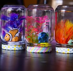 The Finding Dory movie is the most anticipated movie of the summer and we can't WAIT for the movie to be out in a couple of weeks! Finding Nemo has been our go-to Disney movie on evenings where we just want to relax. We made these Finding Dory & Nemo Aquarium Jars in anticipation of the movie. I spotted these figurines and knew exactly what we could do with them. This craft costs only a few dollars to make and you can make them in under 10 minutes. The glitter inside makes the water s...