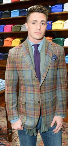 AC Colton Haynes at the avenue Polo Ralph Lauren Flagship, in plaid tweed  jacket a0937433b13e