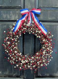 Americana Mix Berry Wreath  Patriotic Door by Designawreath, $66.95