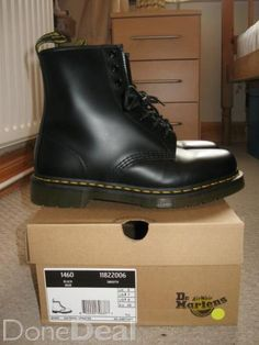 Black Size 6 Tried on once indoors, but otherwise brand new. Dr Martens 1460, Dr Martens Boots, Black Boots, Combat Boots, What To Wear, Footwear, Brand New, Stuff To Buy, Shoes
