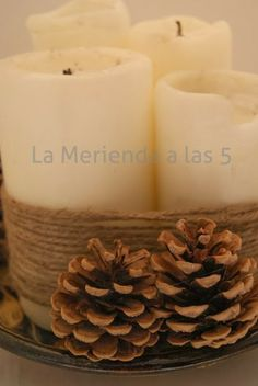 DIY Advent Wreath. Would use pink and purple candles but really like the twine wrapped around.