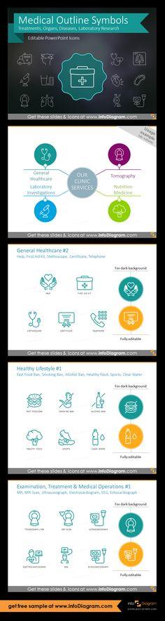 Medical Signs and Outline Health Symbols for presentations (PPT