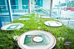 Post card menus, daisies, real-grass   (postcard, event-styling, menu-design, indoor-picnic) Event Styling, Event Decor, Nova, Menu, Decoration, Table, Design, Menu Board Design, Decor
