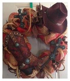 Western burlap deco mesh wreath by lessie