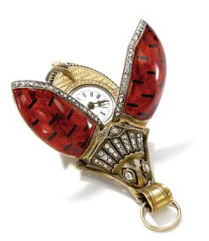 Swiss -  A YELLOW GOLD, ENAMEL AND DIAMOND-SET BEETLE-FORM WATCH, MADE FOR THE CHINESE MARKET CIRCA 1870.   Sotheby's