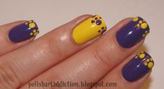 Polish Art Addict: Go LSU! (click through for other LSU nail designs) Tiger Nail Art, Tiger Nails, Football Nails, Pointed Nails, Painted Toes, Fingernail Designs, Nail Time, Girls Nails, Manicure And Pedicure