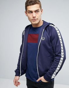 d9b210946 Fred Perry Sports Authentic Hooded Track Jacket in Blue