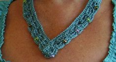 Crochet Beaded Necklace by CrocKnits.Love this so light and easy to wear..