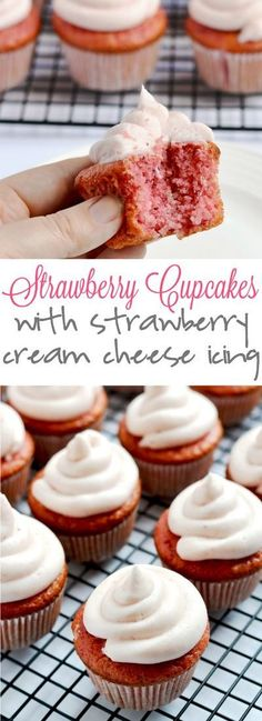 Strawberry cupcakes with strawberry cream cheese icing are such a completely delicious sweet treat, perfect for a birthday party! These strawberry cupcakes with strawberry cream cheese icing are such a delicious sweet treat, perfect for a birthday party! Brownie Desserts, Mini Desserts, Birthday Desserts, Dessert Recipes, Birthday Cupcakes, Party Cupcakes, Icing Recipes, French Desserts, Cheese Recipes