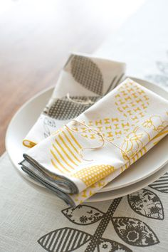 As Seen in REAL SIMPLE, Hand Printed Cloth Napkins, Sunshine Yellow, set of SIX, Anna Joyce Textile Collection