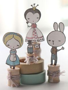 Alice in Wonderland Spool Dolls Tutorial :: by Sarah Meehan