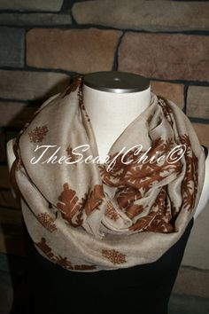 You are looking at a Quality handmade Infinity Scarf! Super Cute!    Brown Snowflake Print Infinity Scarf! 100% Viscose    Scarf is made of