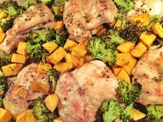 Simple Paleo ~ Chicken, Broccoli and Sweet Potato in the Oven 375 Degrees for 45 minutes.