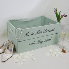Large personalised wooden apple crate, perfect personalised wedding gift for the happy couple