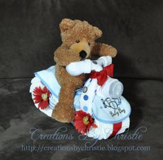 Diaper Creation Boy Bicycle with Teddy Bear