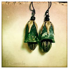 Antique Thimble Earrings  Statement Earrings Upcycled by GlowsShop, $58.00