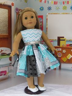 This pretty patchwork dress is for all 18 inch dolls, like the American Girl, Our Generation and Madame Alexander. The full gathered skirt is