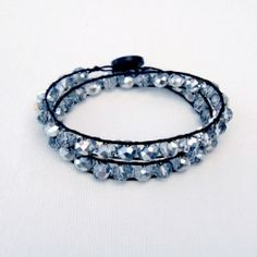Make your own sparkly double wrap bracelet to shine (or give!) for the holidays!