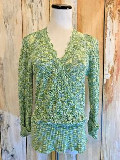Sundance Catalog Crossover Crochet Sweater Green Blue Cotton V Neck sz M EUC! #Sundance #Crossover #WorkCasual