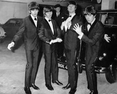 our favorite lads in an underground carport before the premiere of A Hard Day's Night~
