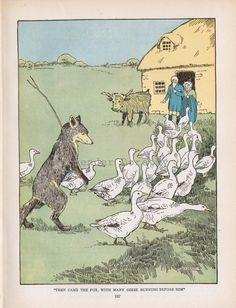Fox & Geese Hugh Spencer Vintage Illustration by SurrenderDorothy