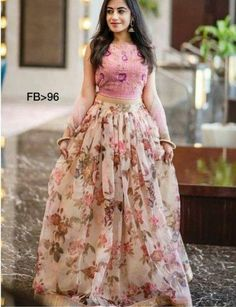 Floral lehenga - Floral print Pink organza lehenga with pink blouse and pink dupatta Prefect dress for bridesmaids or Party Wear Indian Dresses, Designer Party Wear Dresses, Party Wear Lehenga, Indian Gowns Dresses, Indian Fashion Dresses, Indian Designer Outfits, Lehenga Choli Wedding, Designer Bridal Lehenga, Designer Wedding Gowns