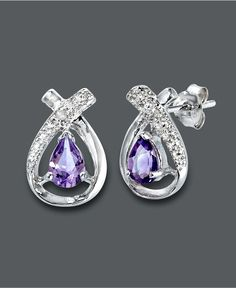 Victoria Townsend Sterling Silver Earrings, Amethyst (3/4 ct. t.w.) and Diamond Accent Pear Stud Earrings - $35.10